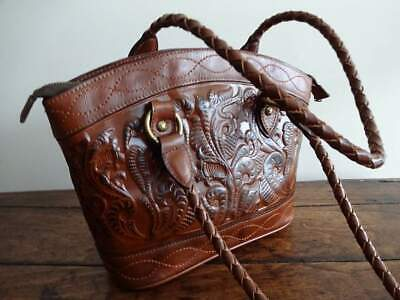 PATRICIA NASH ZORITA Burnished Tooled BROWN Florence LEATHER SHOULDER BAG