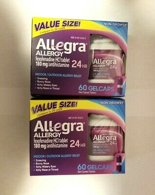 Lot Of 2 Allegra Allergy  60 Gel Caps 180mg 24 HR Non-Drowsy - 09/ 2019