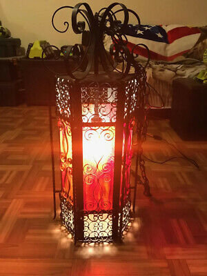 American Gothic/Spanish Revival Wrought Iron Stained Glass Antique Hanging Light