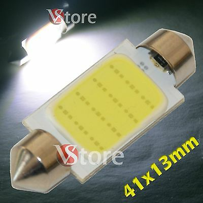 2 LED Torpedo 41mm Cob SMD 12 Chip White Lights Lamps Bulbs Interior Number