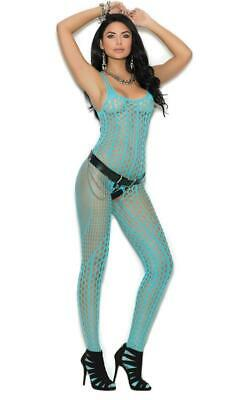 Crochet Pothole Bodystocking Strappy Cut Outs Crotchless Scoop Turquoise 1308