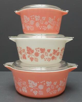 Set of 3 Vtg PYREX Gooseberry Nesting Casserole Dishes Pink & White w/ Lids 6pc