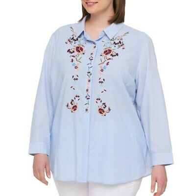 TOMMY HILFIGER NEW Women's Plus Size Embroidered Button Down Shirt Top TEDO