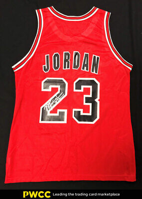 new arrival d5b85 f85e3 MICHAEL JORDAN SIGNED Autographed Champion Red Bulls Jersey AUTO, COA (PWCC)