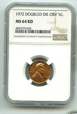 1972-P DOUBLE DIE OBVERSE Lincoln Memorial Cent (MS 64 RED) NGC RARE!!