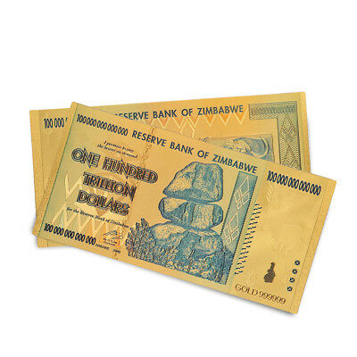 Gold Foil Zimbabwe 100 Trillion Dollars Banknotes Money Collection Non Currency