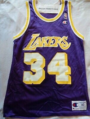557c3de325e Champion Los Angeles Lakers Shaquille O'Neal #34 Basketball Jersey Size 40  NBA