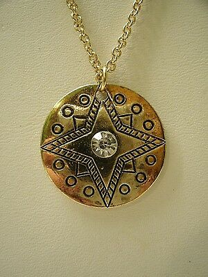 Lucky Star Design goldtone pendant Necklace clear faceted set chain fortune luck