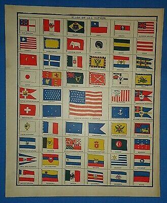 Vintage 1891 Atlas Illustration ~ FLAGS of NATIONS - 48 STAR OLD GLORY