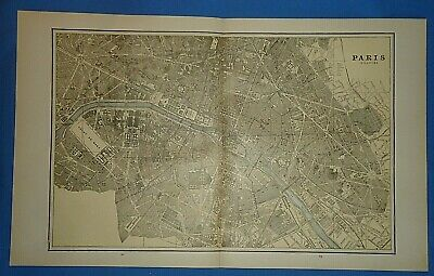 Vintage 1891 PARIS, FRANCE MAP Old Antique Original Atlas Map 51019