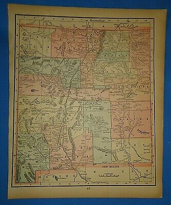 Vintage 1895 NEW MEXICO TERRITORY Map Old Antique Original Atlas Map 50919