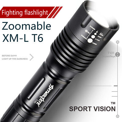 Zoomable 4000LM 5-Mode Tactical XML T6 LED Flashlight Military Torch Light