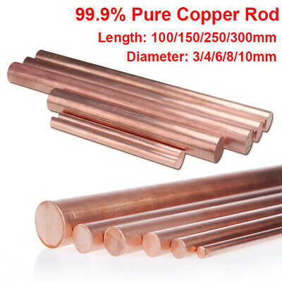 Pure Copper Rod 99.9% Bar Round 100mm 150mm 250mm 300mm Length 3mm - 20 40mm Dia