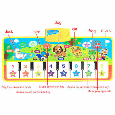 Kids English Musical Piano Music Carpet Play Mat  Educational Electronic Toy vn