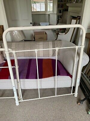 Vintage white metal single bed frame and base