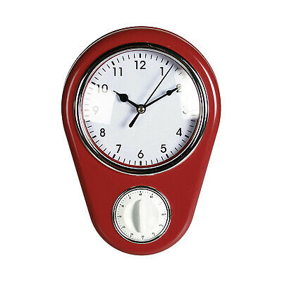 Retro Style Oval Kitchen Wall Clock with Built-In Timer Vintage Home Decor Gift