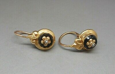 Magnificent Antique Victorian 18 Carat Gold French Dormeuse Onyx Pearl Earrings.