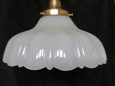 Vintage Milk Camphor Glass Shade Pendant Hanging Light Brass Light Fixture