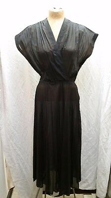 Vintage 1940's Sheer Black Chiffon Cocktail Party Dress by Bedford Small AS IS