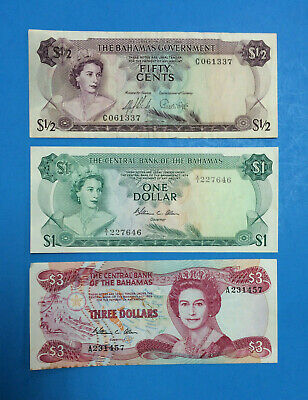Bahamas Fifty Cents,1/2 Dollar Banknote 1965 ~ Also $1 & $3 ~ Three Note Set