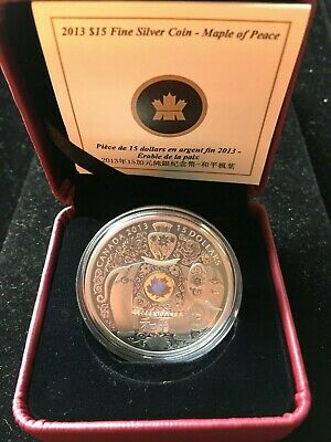 "2013  $15 ""Maple Of Peace"", 1oz Silver Hologram Coin"