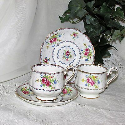 VINTAGE ROYAL ALBERT PETIT POINT FOOTED CUP & SAUCER BONE CHINA 2 sets ENGLAND