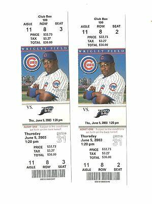 Chicago Cubs Vs Tampa Bay Devil Rays Unused Baseball Tickets From 6/5/2003