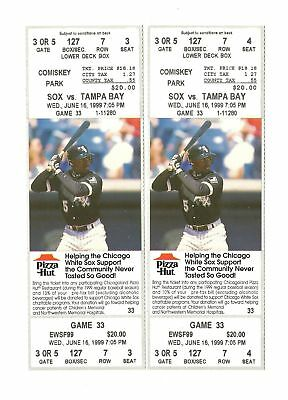 Chicago White Sox Vs Tampa Bay Rays Unused Baseball Tickets From 6/16/1999
