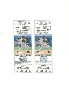 Chicago White Sox Vs Tampa Bay Devil Rays Unused Baseball Tickets From 4/12/1998