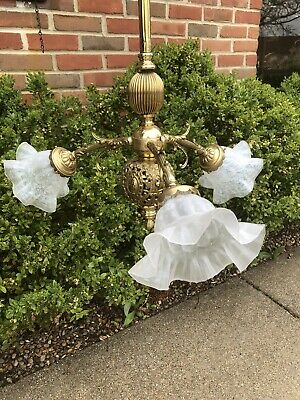 Antique Victorian Brass Triple Light Chandelier Newly Wired