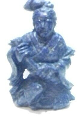 Solid Lapis Lazuli Nepalese Figure Of Temple Monk With Sword Rare! Value Piece
