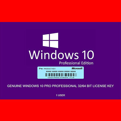 Windows 10 Pro Professional Activation Code Licence Key Genuin Product 32/64 bit