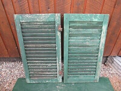 "VINTAGE OLD  2 SHUTTERS Wooden 30"" long x 16"" Wide Architectural Salvage #18"