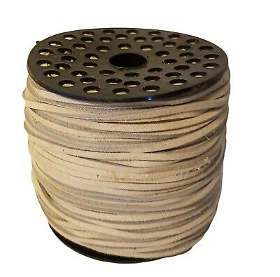 "Genuine Suede Leather Lace Jewelry Cord 1/8"" 3mm x 100 yds Large Spool Beige"