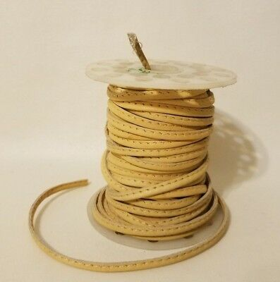 Beige Natural Genuine Stitched Leather Jewelry Cord Spool 4mm x 18 Yards