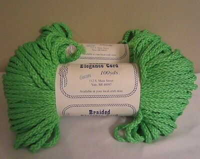 Lot of 2 Rolls of Parrot Neon Green 6mm Braided Elegance Macrame Cord 200yds