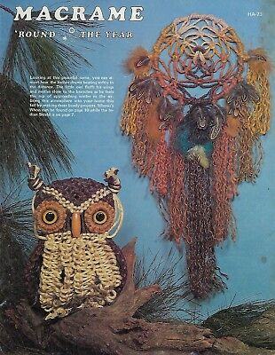 Vintage Macrame Owl Pattern Instructions in Macrame 'Round The Year Book HA73