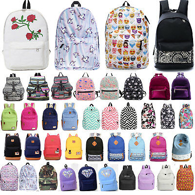 Women Girl Canvas Backpack College School Book Bag Travel Hiking Laptop Satchel