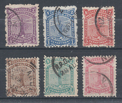 New Zealand Sc OY1-OY6 used. 1891 Life Insurance stamps, cplt set, sound.