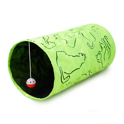 Printed Pet Cat Tunnel Collapsible Play Tubes Toys Kitten Rabbit Tunnels w/ Ball