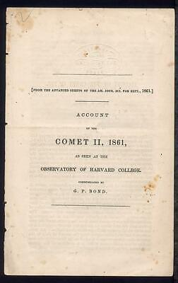 Astronomy Account of GREAT COMET OF 1861 Pamphlet Harvard College Observatory