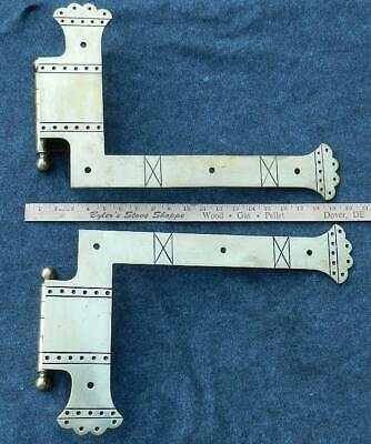 RARE~HUGE~Antique c1880 Eastlake Bronze Door Hinges~Strap~Architectural Salvage