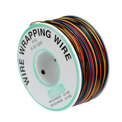 250M 8-Wire Colored Insulated 30-1000 30AWG Wire Wrapping Cable Wrap Reel Z5S3