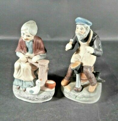 Vintage Porcelain Old Man Shoe Maker &Old Woman Pumping Water for Duck Figurines