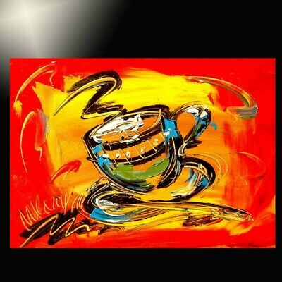 Coffee Modern Abstract Oil Painting Original Canvas Wall Decor Impressionist