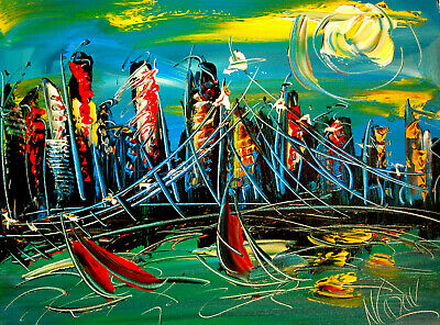 NYCITY Modern Abstract Oil Painting Original Canvas Wall Decor Impressionist