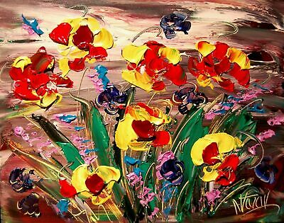 FLOWERS Abstract Oil Painting Original Canvas Wall Decor Impressionist
