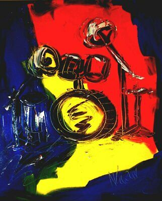DRUMS  Abstract Oil Painting Original Canvas Wall Decor Impressionist
