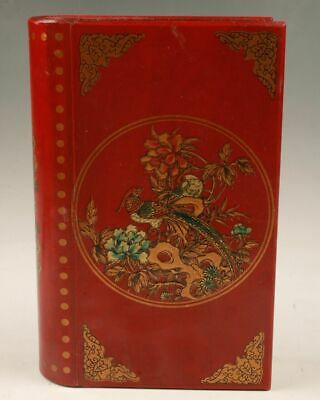 Chinese Red Wood Handmade Painting Bird Flower Box Decoration Gift Collection