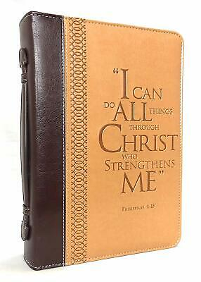 "BIBLE COVER ""I Can Do All Things Through Christ"" Philippians 4:13 Large Two-Tone"